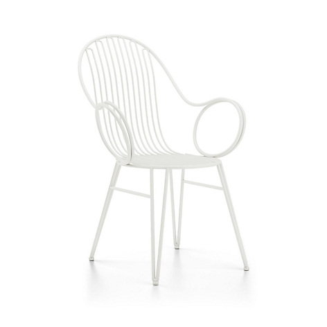 Scroll White Metal Dining Chair