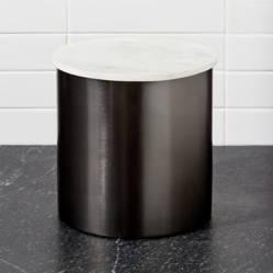 Crate & Barrel - Contenedor en Grafito y Marmol Grande