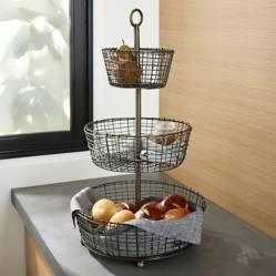 Crate & Barrel - Canasta para Frutas de 3 Niveles Rústica
