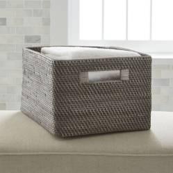 Crate & Barrel - Caja Organizadora Sedona Gris Grande