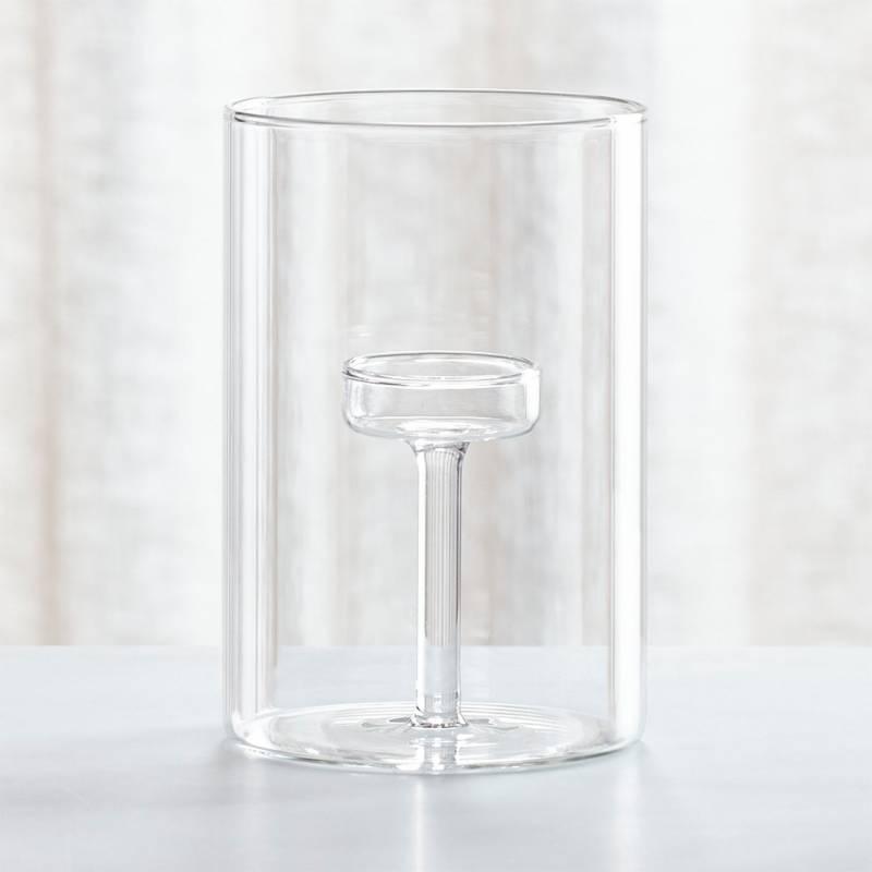 Crate & Barrel - Candelabro de Vidrio para Tealights Elsa Grande