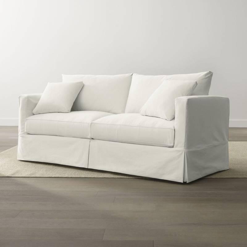 Crate & Barrel - Sofá Willow 2 Puestos Blanco 213 cm.
