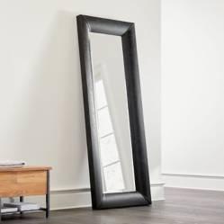 Crate & Barrel - Espejo de Piso Maxx en Cuero Sintético Negro