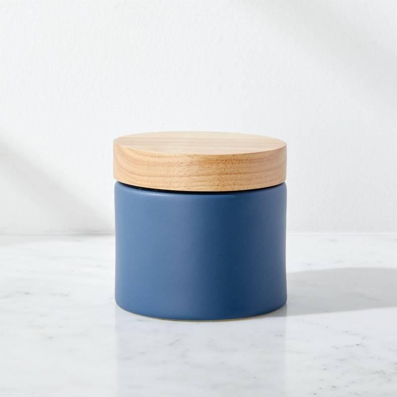 Crate & Barrel - Recipiente de Cerámica Azul Pequeño Niko