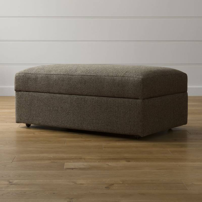 Crate & Barrel - Puff Lounge II con Almacenamiento y Ruedas Café 109 cm.