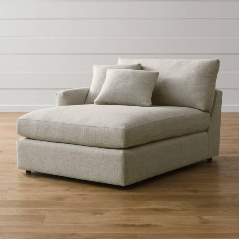 Crate & Barrel - Sofá Seccional Chaise Lounge II Cemento