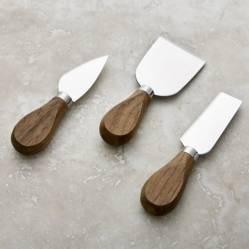 Juego de 3 Cuchillos para Queso Nogal
