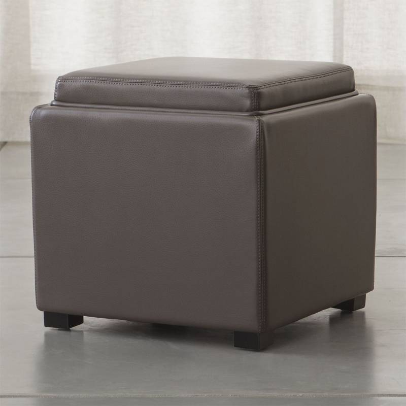 Crate & Barrel - Puff Stow con Almacenamiento Humo