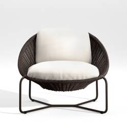 Crate & Barrel - Silla Lounge Oval Morocco con Cojín Charcoal