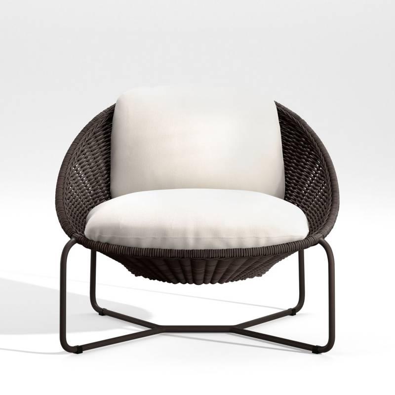 Crate & Barrel - Silla Lounge Oval Morocco con Cojín Charcoal