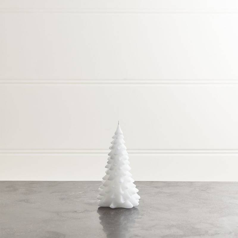 Crate & Barrel - Vela de Árbol Navideño Blanca 9 x 15 cm