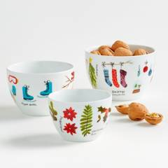 Crate & Barrel - Set x 3 Bowls de Servir Winter en Porcelana