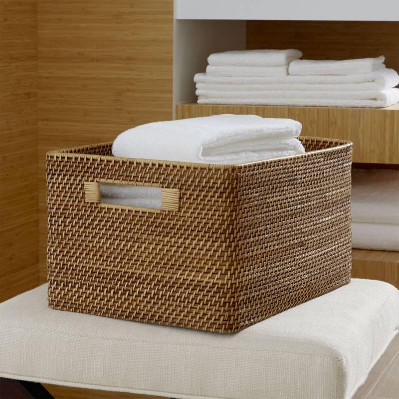 Crate & Barrel - Canasto Sedona Miel Rectangular Grande