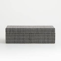 Crate & Barrel - Caja Organizadora Jolie Blanca y Negra Grande