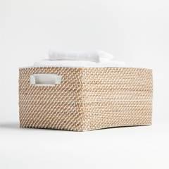 Crate & Barrel - Canasta Sedona Blanca 43 x 23 cm
