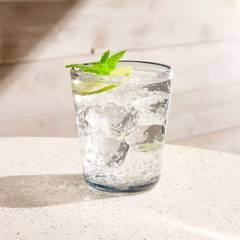 Crate & Barrel - Vaso Grey Acrylic 14 oz Drink Glass