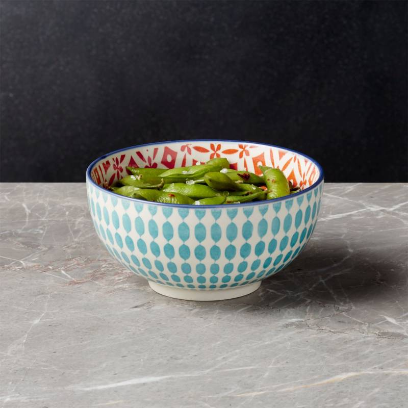 Crate & Barrel - Bowl de arroz Yuki Azul
