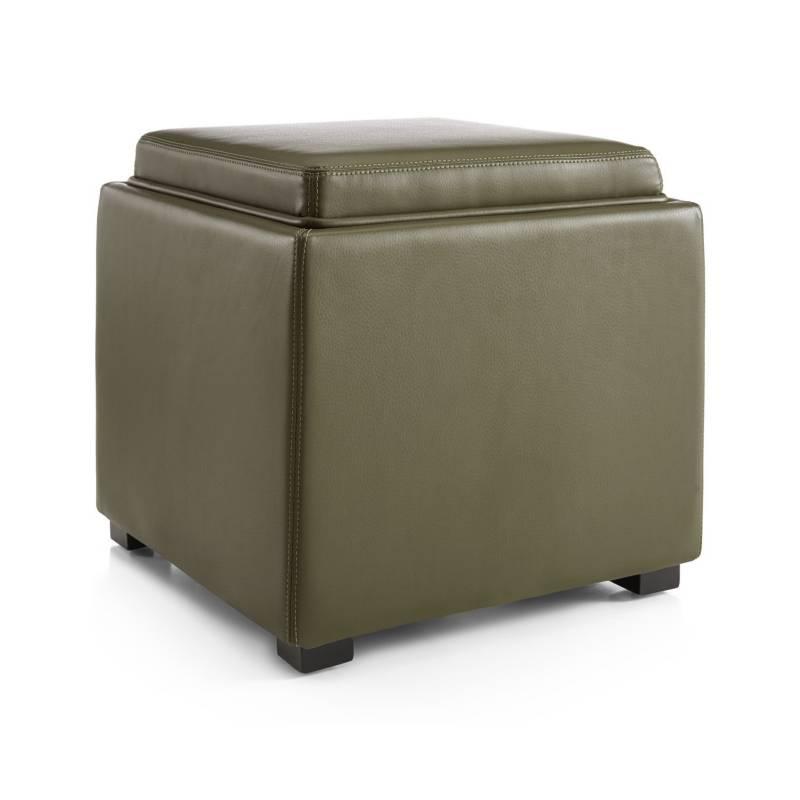 Crate & Barrel - Otomán de Almacenamiento de Cuero Stow Verde Olivo