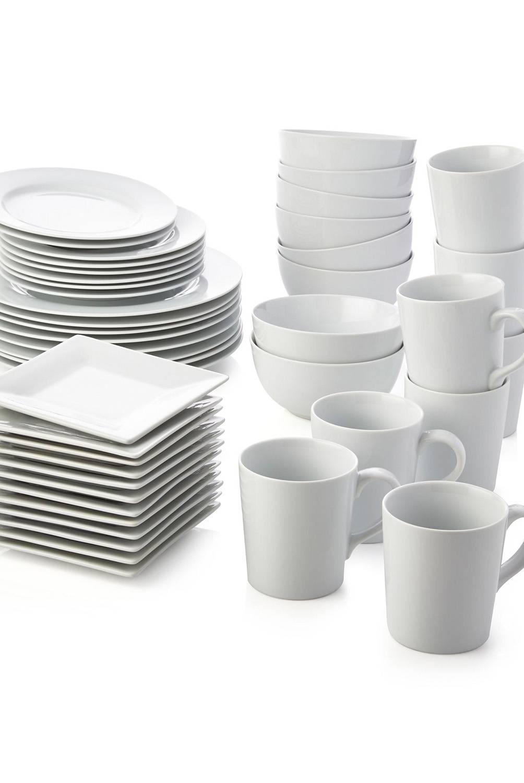 Crate & Barrel - Juego de 12 Platos para Aperitivo de Porcelana Blanca en Caja