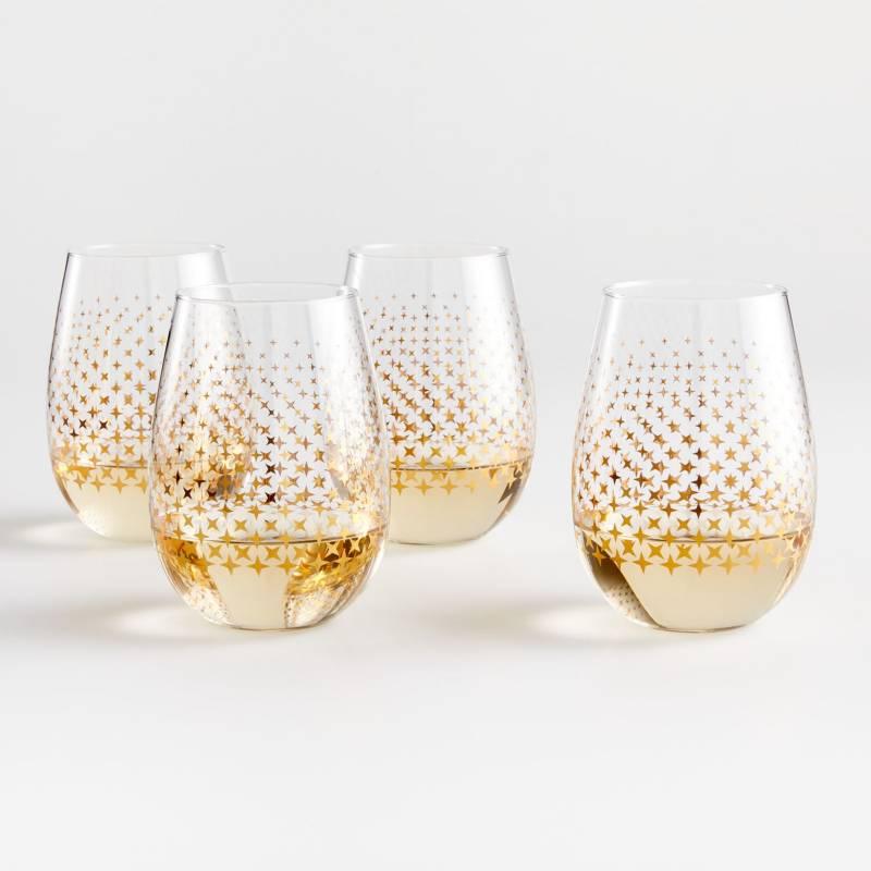 Crate & Barrel - Setx 4 Copas de Vino Sparkle Dot 532 ml
