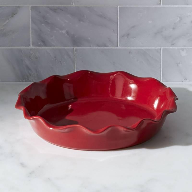 Crate & Barrel - Molde para Pie Ondulado Rojo 23 cm