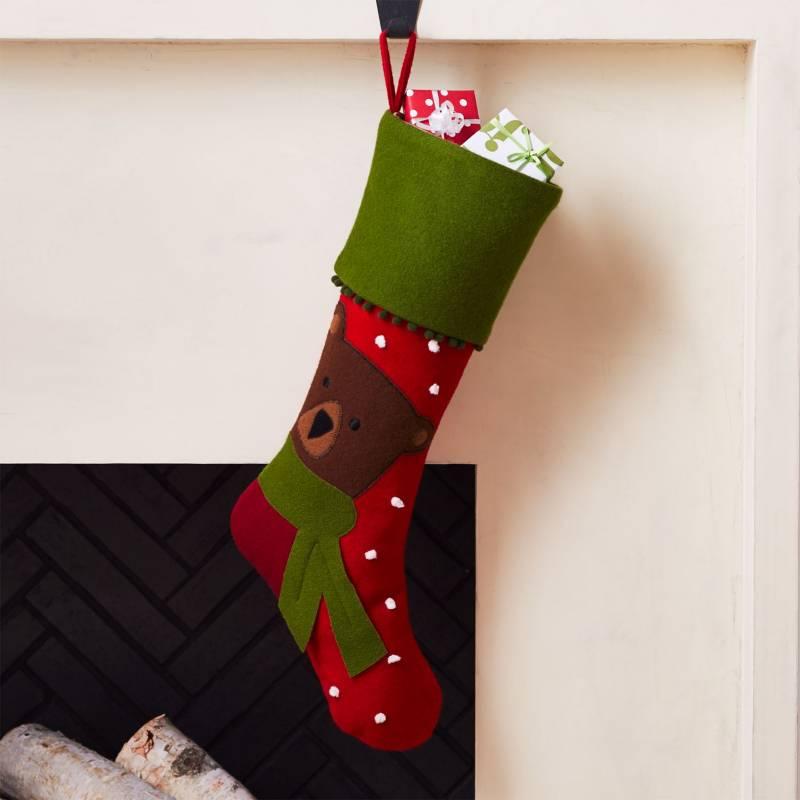 Crate & Barrel - Bota de Navidad Holiday Verde 20 x 55 cm