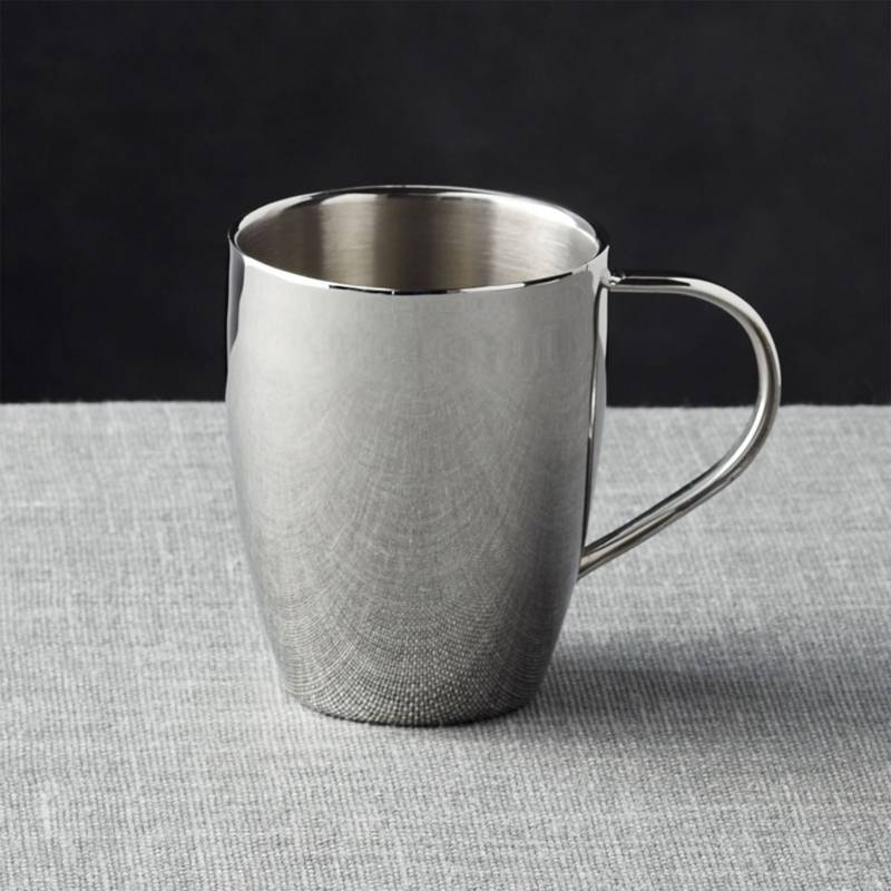 Crate & Barrel - Mug de Acero Inoxidable 11 cm.
