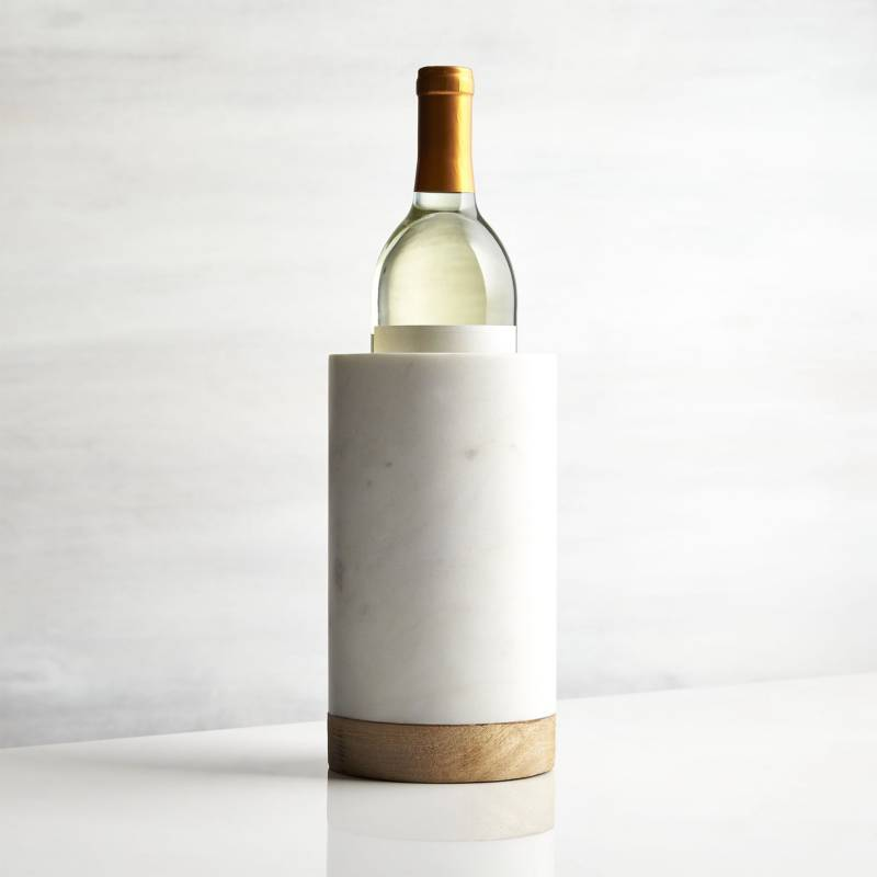 Crate & Barrel - Enfriador de Vino de Madera y Mármol