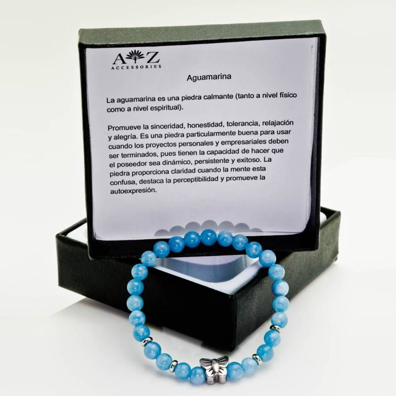 AZ ACCESSORIES - Pulsera piedra natural aguamarina az accesorios