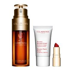 Clarins - Set Double Serum, Beauty Flash Balm y Joli Rouge Velvet