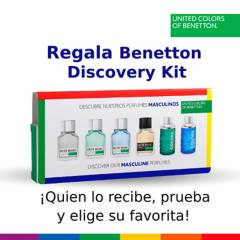 Benetton - Discovery Kit Hombre 6 muestras 1,5 ml c/u + Bono valido por $99.990 para tu perfume favorito
