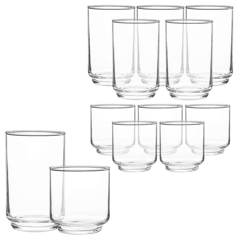 Mica - Set de Vasos Mica Vidrio 12 Piezas 12 - 9.5 Oz