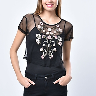 BLUSA ML Y 3/4 R4BLS415ZH BLACK S