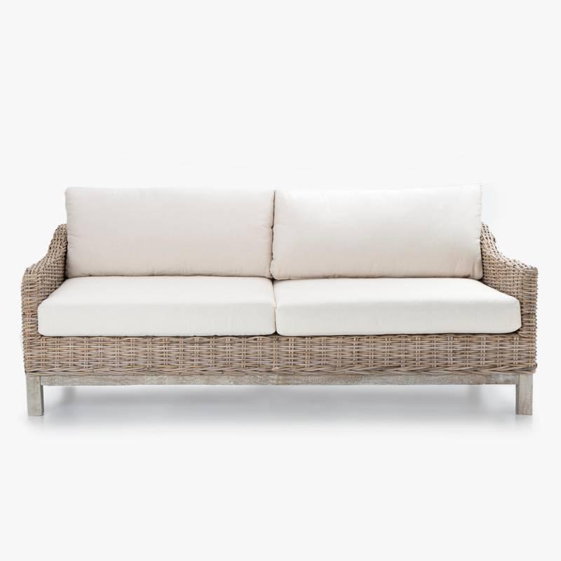 Mica - Sofá de Terraza 3 Puestos Madera Kubu