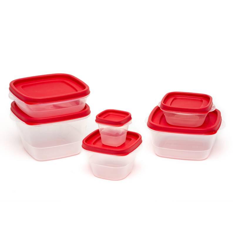 Mica - Set x18 contenedores con tapa rojo