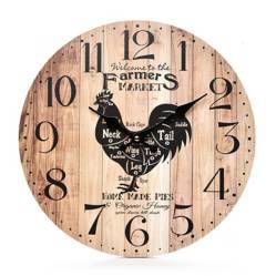 Reloj Gallo Madera Negro 34 cm