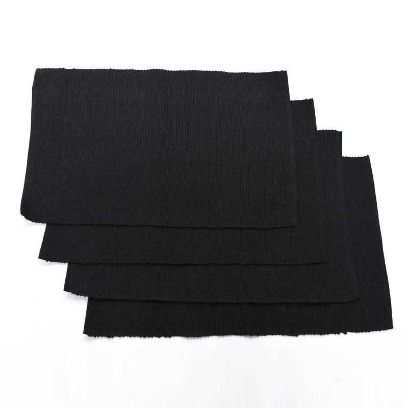 Mica - Set x4 Individuales Basic Rib Negro