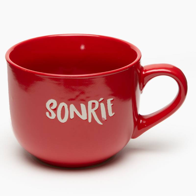 "Mica - Mug Cerámica Crema ""Sonrie"""
