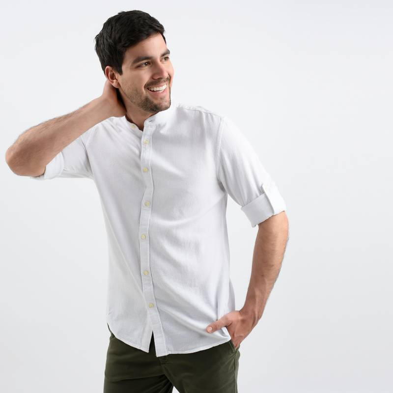 Basement - Camisa Casual Hombre Manga Larga Basement
