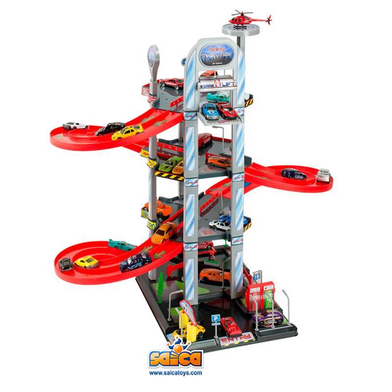 Saica - Playset Autos Garage 4 Pisos + 2 Autos