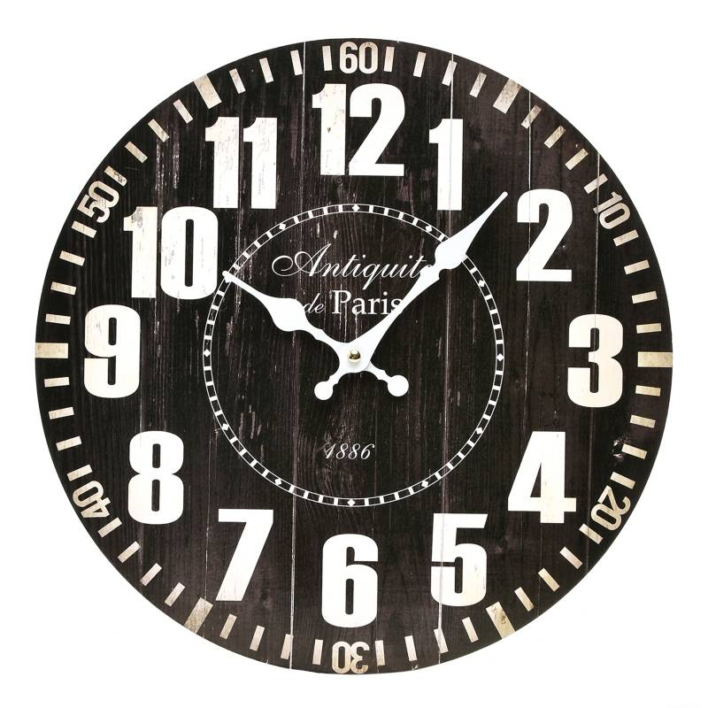 Mica - Reloj Negro Mdf 33 cm