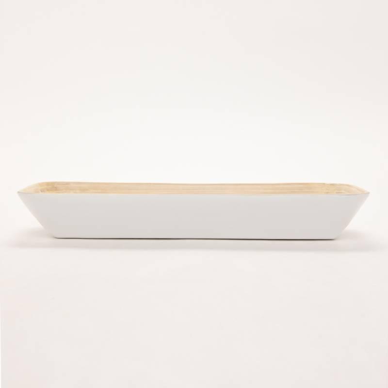 Mica - Bandeja Rectangular 42.5 cm Bambú Blanca