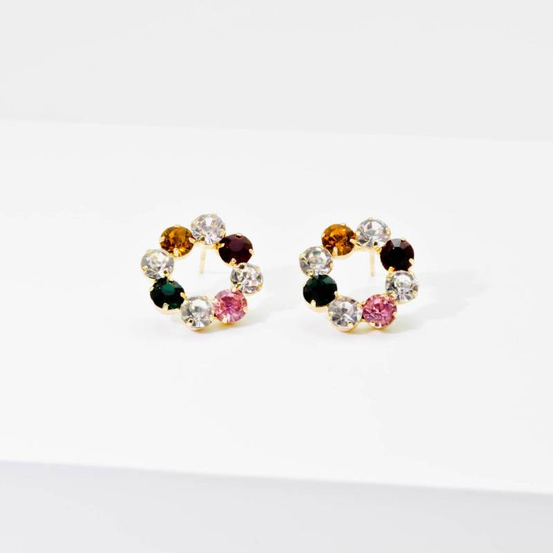 AZ ACCESSORIES - arete topo cristales multicolor az accesorios