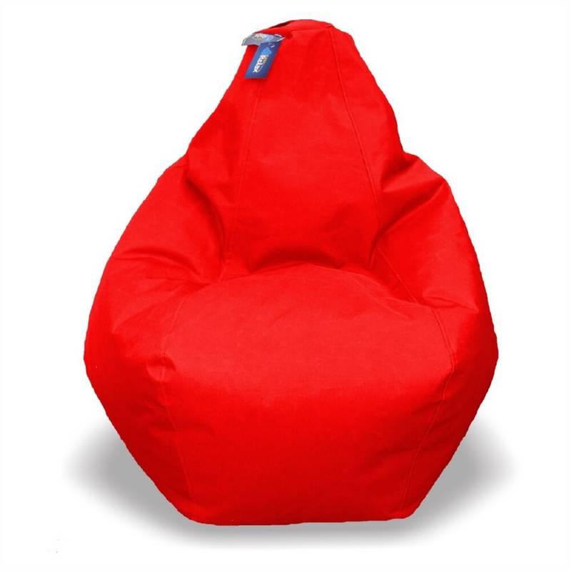 ESTILORELAX - Silla puff pera talla l  rojo  cuerotex