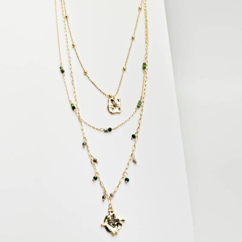 AZ ACCESSORIES - collar multi cadena piedra natural az accesorios