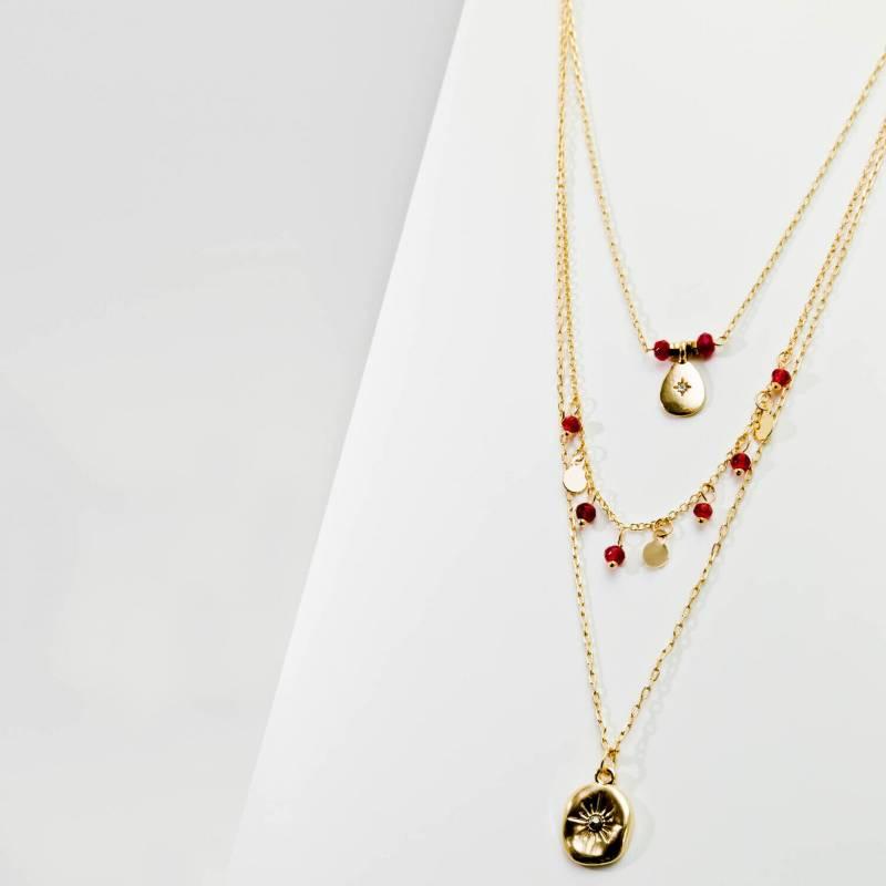 AZ ACCESSORIES - collar multi cadena piedra metal az accesorios
