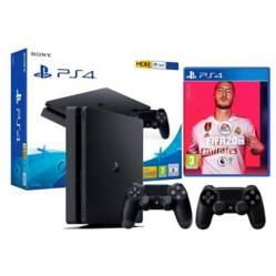 PlayStation - Consola ps4 1 tb + 2 controles + juego fifa 20