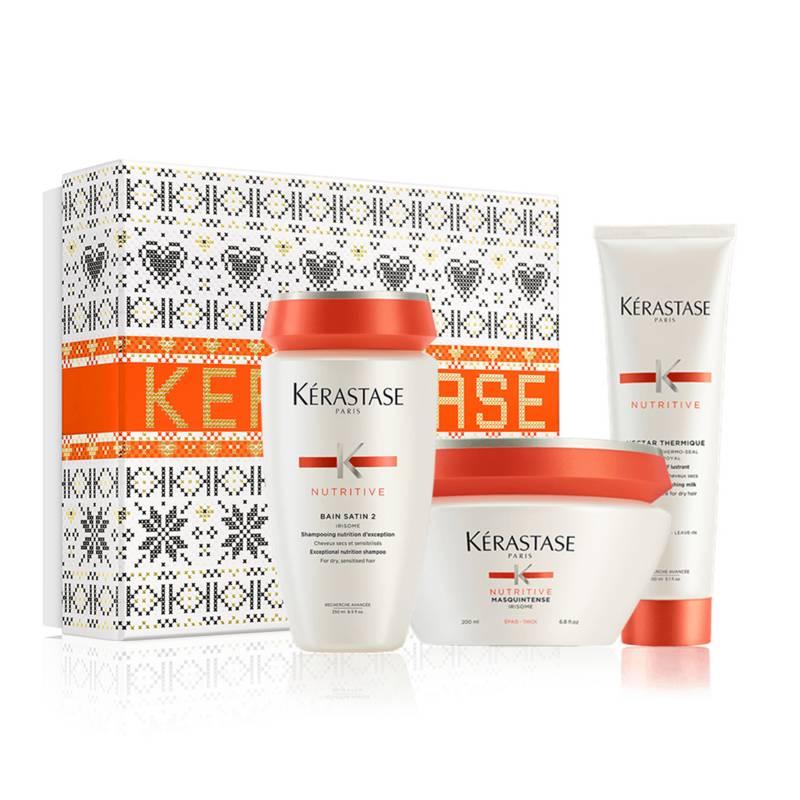Kerastase - Set Cuidado Cabellos Seco: Shampoo + Acondicionador + Termoprotector Nutritive