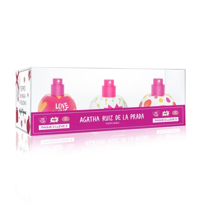 Agatha Ruiz de la Prada - Set de Perfumería Agatha Ruiz de la Prada Estuche Bubbles Love Love Love + Wow + Gotas 3 unidades Mujer