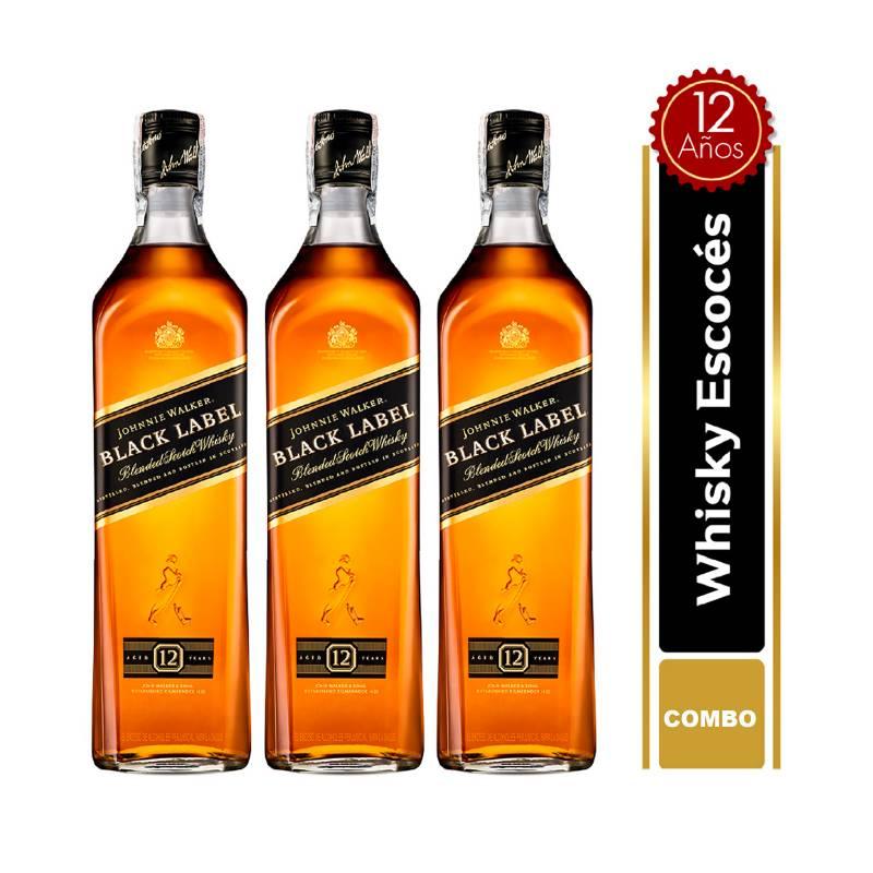 JOHNNIE WALKER - Set x3 Botellas Johnnie Walker Black Label 700 ml